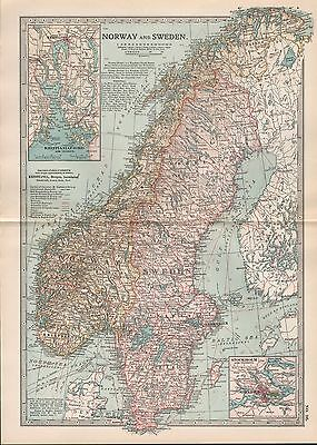 1903 Britannica Antique Map Norway And Sweden Kristianiafjord Stockholm