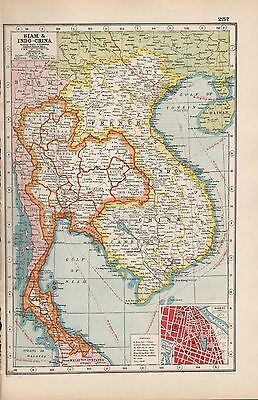 1920 Map -Post Ww1- Siam And Indo China, Inset Hanoi