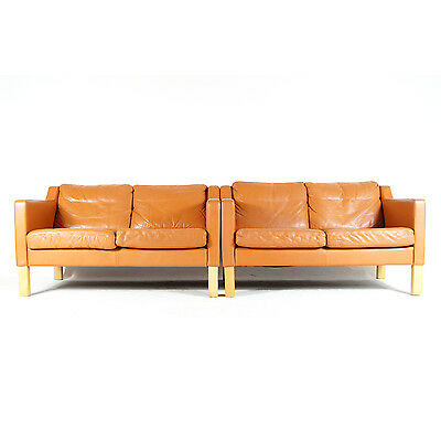1 of 2 Retro Vintage Danish Design Love Seat 2 Seater Beech Leather Sofa 60s 70s