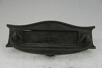 Old Vintage Black Cast Iron Letter Box Door Plate With Knocker