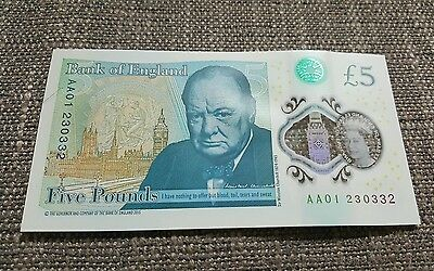 Serial AA01 £5 Five pound Note 85th Birthday present 23/03/32