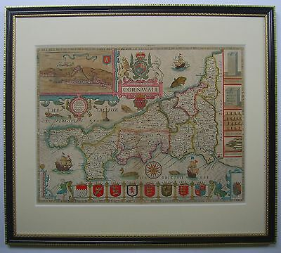 Cornwall: antique map by John Speed, 1676