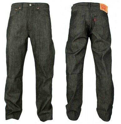 Levis Mens 501 Original Button Fly Straight Shrink To Fit Jeans Black 501-2126
