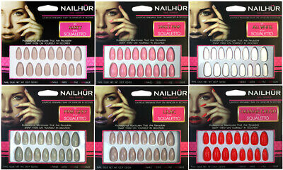 Nailhur - Squaletto - Creme #2 Ballerina Coffin Reusable Press On Nail Tips Kit