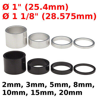 "Bike Headset Spacer 1"" 1 1/8 2 3 5 8 10 15 20 Alloy Black White Washer Spacer"