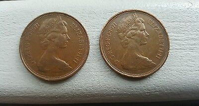 2x  New Pence 2p Coins for collections Very Rare 1971
