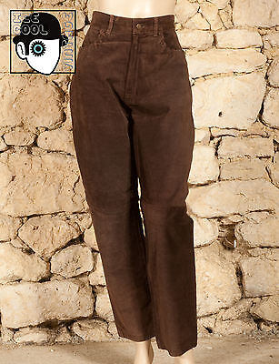 VINTAGE 80s SUEDE LEATHER TROUSERS - UK 12 - (Z)
