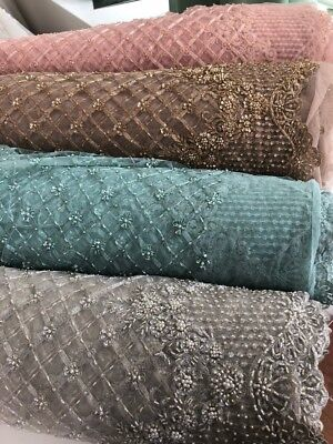 LX03 heavy beaded 3D flower corded lace, sold as fabric sample or by 1/2 yard
