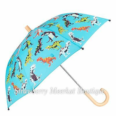 New SS17 Boys Hatley Blue Roaring T-Rex Dinosaur Umbrella with Wooden Handle