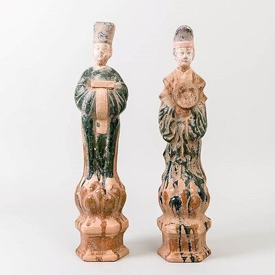 "Pair of 2 Ming Dynasty Tomb Figures Burial Attendants Sancai Glaze 21.5"" Tall"