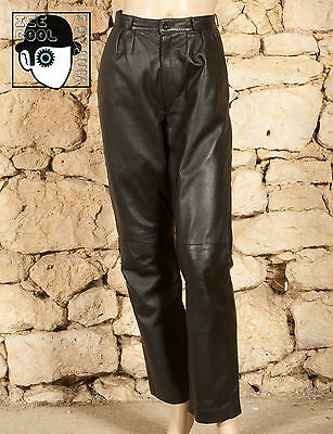 VINTAGE 80s LEATHER TROUSERS - UK 14 - (Q)