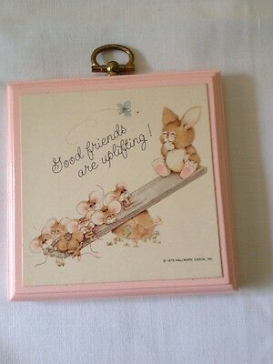 "Vintage 1979 Hallmark Pink Plaque ""Good Friends Are Uplifting"", Size 3.5"" X 3.5"""