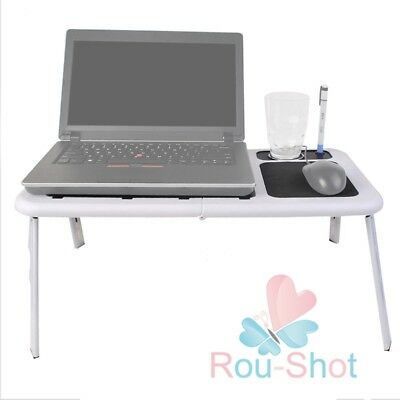 Portable Laptop Desk Table e-Table Bed with USB Cooling Fans Stand TV Tray 【UK】