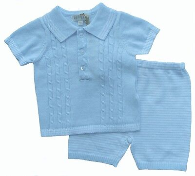 Baby Boys Spanish Wear 2 Piece Cable Knitted Polo & Shortset  In Blue