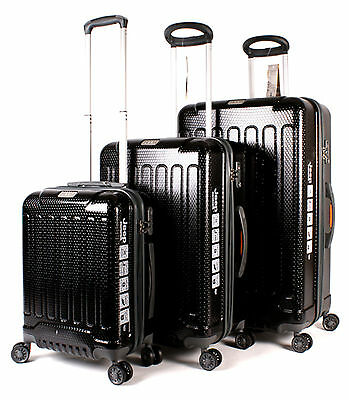 Set of 3 Lightweight Jeep Black Hard Shell 4 Wheel Spinner Suitcases Luggage