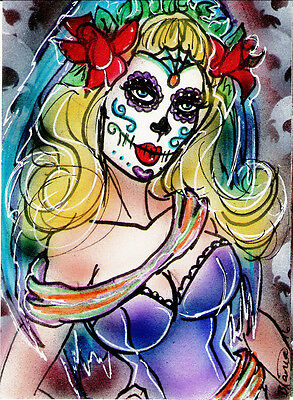 DAY OF THE DEAD Original Sketch Card Painting by Bianca Thompson