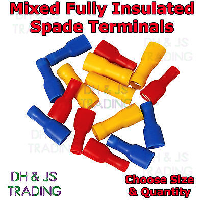 Mixed Fully Insulated Female Spade Terminals Blue Red Yellow Crimp Connector Mix