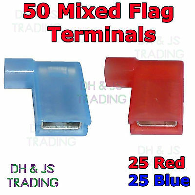 50 Mixed Flag Terminal Connectors Crimp On Right Angle Terminals Red & Blue 90°