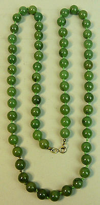 Fine Chinese Jade Bead 33 Inch Necklace Silver Gilt Clasp