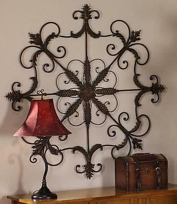 Large Vintage Rustic Decorative Scrolling Wrought Iron Metal Wall Grille Plaque