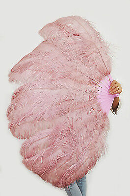 "Large 2 Layers 34""x 60"" beige wood Ostrich Feather Fan Burlesque with Gift Box"