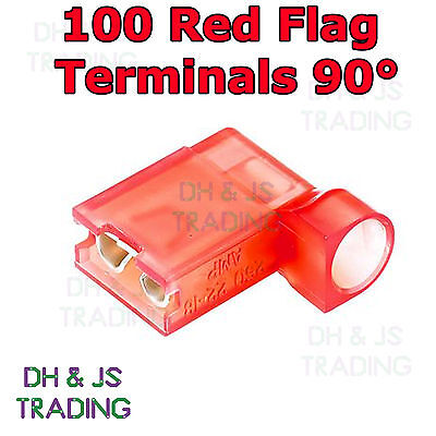 100 Red Flag Terminal Connectors Crimp On Right Angle Terminals Connector 90°
