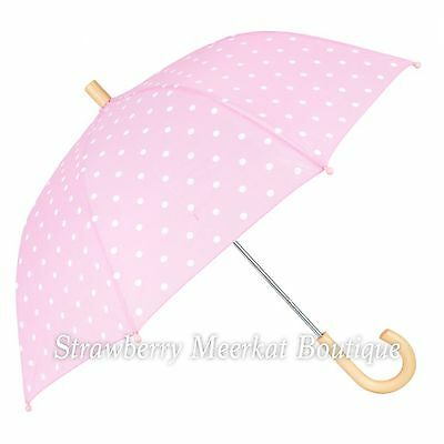 New SS17 Girls Hatley Pink and White Polka Dots Umbrella with Wooden Handle