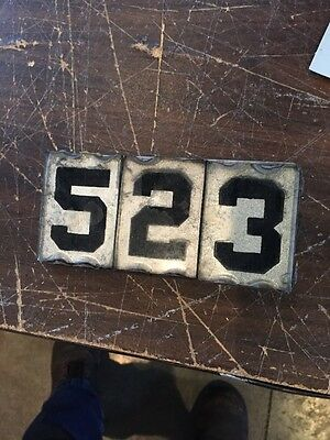 Antique Glass Mirrored Back Address 523 Plaque