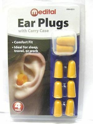 4 Pairs Ear Plugs With Carry Case
