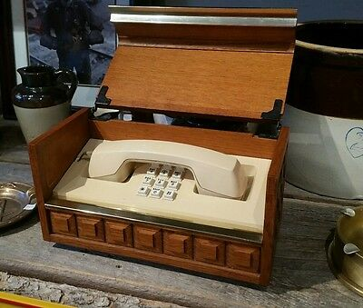70s Vintage Phone Western Electric Telephone Oak Wooden Box Executive Stowaway