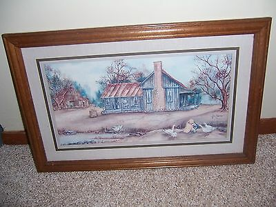 Vintage HOME INTERIOR   HOMCO Old Farmhouse PICTURE Wood frame