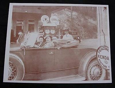 Kendall Gas & Oil Station Vintage Sepia Card Stock Photo 1930s