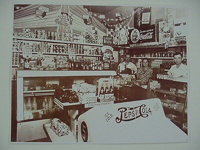 Pepsi Pete, Pepsi Cola Cooler,  Grocery Vintage Sepia Card Stock Photo 1940s