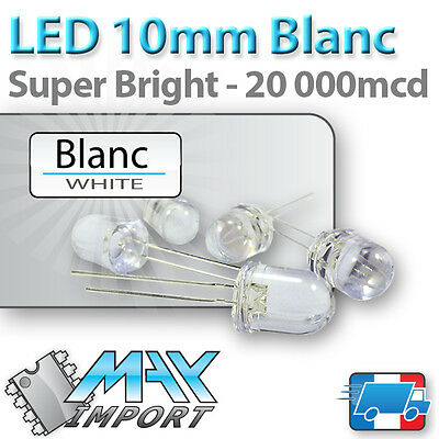 LED blanches 10mm ( Blanc ) compatible Arduino - Lots multiples, prix dégressif