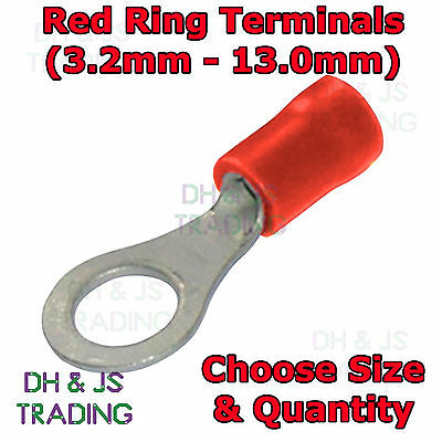 Insulated Red Ring Terminals - Electrical Splice Crimp Connector Eyelet Terminal