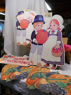 5 Vintage Thanksgiving Cutout Decorations Dennison, Amscan Pilgrim, Cornucopia