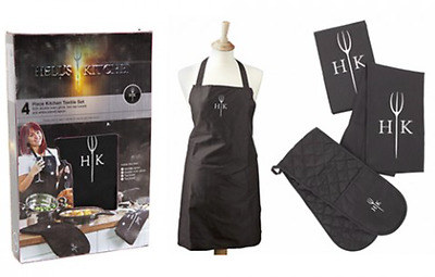 Hells Kitchen Textile Set 4PC - Oven Glove, 2 Tea Towel, Apron