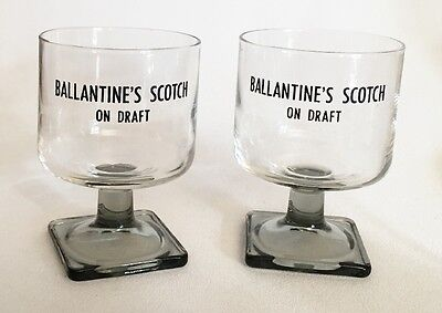 Pair Ballantine's Scotch On Draft Glass Stemmed Snifters Advertising Promotional
