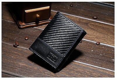 NEW MEN WALLET Genuine Saffiano Leather & Fiber Carbon Men's Wallet with RFID