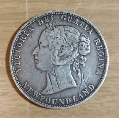 1885 Newfoundland 50 Cent Silver Coin, .925, KM#6, Great Coin,  PV17