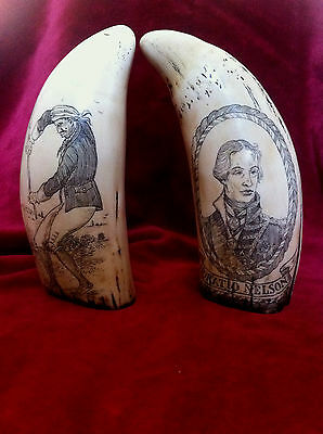"faux scrimshaw   ""Horatio Nelson"" & ""The Stick Dancer""    pair of superb items."