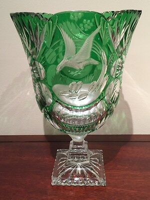 "Freres Muller Antique Green Crystal 11.5"" Handmade Vase from France *Signed*"