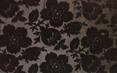 "Antique Black Velvet  Exotic Flowers on Black Cotton Satin  30"" x 9"""