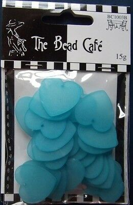 THE BEAD CAFE ~ 1 pack of BLUE HEARTS (15g) ~ Jewellery, Beading, Cards etc