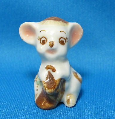 Vintage Pink Flower White Mouse Holding Sack Miniature Small Ceramic Figurine