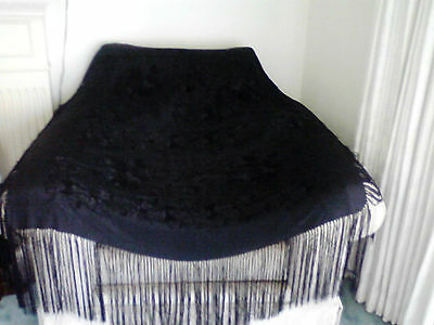 Antique Vintage Piano Shawl Scarf Large Black Silk Embroidered Flowers