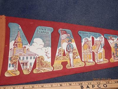 Vintage -Souvenir Felt Pennant - Maryland  State Capitol - Naval - & More 26""