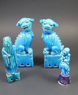Lot Antique Pair Turquoise Chinese FOO DOGS IMMORTALS Figurines Statues Signed