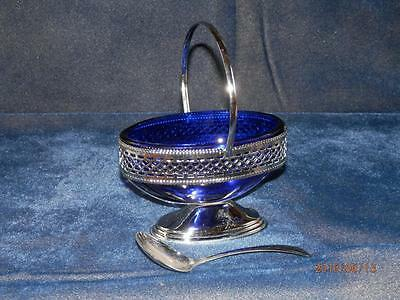 VTG - COBALT BLUE GLASS LINER in Silver Plate Carrier with SPOON -  ENGLAND