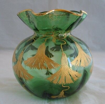 Antique Moser Bohemian Rose Vase Green Blow Glass Gold Hand Painted Decoration